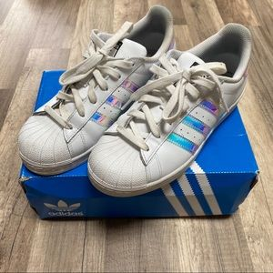 Adidas White Iridescent Superstar Sneakers 6